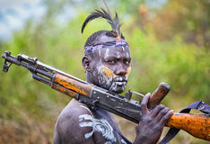 Etiopia, Omo dolina, 18 09 2013 Mago park narodowy Fotografia Stock