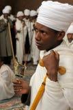 Etiopier av ortodox tro i Lalibela Arkivbild