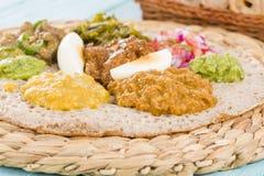 Etiopisk festmåltid - Injera Royaltyfri Foto