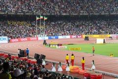 Etiopisk podiumsvep i kvinnors 5000 meter på Peking för IAAF-världsmästerskap Royaltyfria Foton