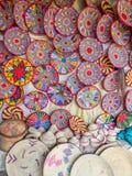 Etiopiska handgjorda Habesha korgar sålde i Axum, Etiopien Royaltyfri Fotografi