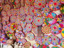 Etiopiska handgjorda Habesha korgar sålde i Axum, Etiopien Royaltyfri Bild