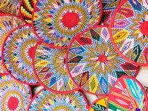 Etiopiska handgjorda Habesha korgar sålde i Axum, Etiopien Arkivbild