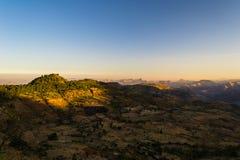 Etiopscy średniogórza przy wschodem słońca Fotografia Royalty Free