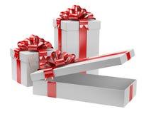 Etiqueta abierta del regalo del espacio en blanco de caja de regalo Fotos de archivo