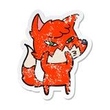 Etiqueta afligida de uma raposa inteligente dos desenhos animados ilustração stock