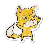 Etiqueta afligida de uma raposa inteligente dos desenhos animados ilustração do vetor