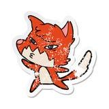 Etiqueta afligida de uma raposa inteligente dos desenhos animados ilustração royalty free