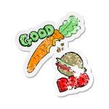 Etiqueta afligida retro de um bom e alimento mau dos desenhos animados ilustração do vetor