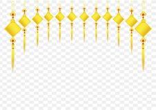 Etiqueta afortunada, cuadrado de la bandera del oro para el diseño chino del vector del Año Nuevo stock de ilustración
