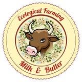 Etiqueta agrícola ecológica de la leche y de la mantequilla ilustración del vector
