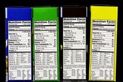 Etiqueta alimenticia de los hechos del cereal Foto de archivo