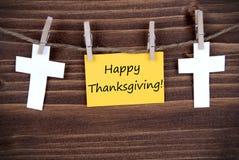 Etiqueta amarilla con saludos felices de la acción de gracias Imagenes de archivo