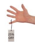 Etiqueta amarrada com corda, preço Fotografia de Stock Royalty Free