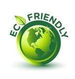 Etiqueta AMIGÁVEL verde do vetor ECO Imagens de Stock
