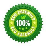 Etiqueta amistosa 100% de la insignia de Eco aislada Stock de ilustración