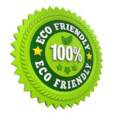 Etiqueta amistosa 100% de la insignia de Eco aislada Fotos de archivo