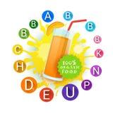 Etiqueta anaranjada de Juice Glass And Vitamins Set Logo Natural Food Farm Products sobre fondo del chapoteo de la pintura Foto de archivo