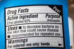Etiqueta antisséptica dos fatos de advertência do álcool de etilo da droga imagens de stock