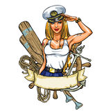 Etiqueta atractiva de Pin Up Sailor Girl Foto de archivo