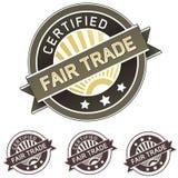 Etiqueta autoadhesiva del producto del comercio justo Imagen de archivo libre de regalías