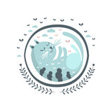 Etiqueta azul de Cat Fairy Tale Character Girly no quadro redondo Imagem de Stock Royalty Free