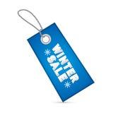 Etiqueta azul de la venta del invierno, etiqueta Imagenes de archivo
