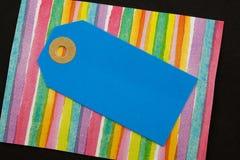 Etiqueta azul do cartão foto de stock royalty free