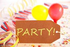 Etiqueta, balão, flâmula, partido do texto Imagem de Stock
