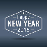 Etiqueta blanca hexagonal del vintage de la Feliz Año Nuevo 2015 Fotografía de archivo libre de regalías