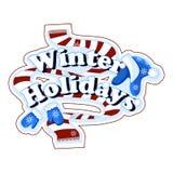 Etiqueta bonita do vetor no tema dos feriados de inverno Lenço listrado vermelho, um chapéu morno com testes padrões e pompons, m Imagens de Stock Royalty Free