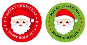 Etiqueta/botões do Feliz Natal Fotos de Stock Royalty Free