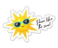 Etiqueta brilhante do sol ilustração royalty free