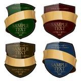Etiqueta brillante del vino con una cinta del oro. Vector Foto de archivo libre de regalías