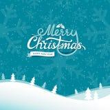 Etiqueta caligráfica del texto de la Feliz Navidad y del Año Nuevo con la rama, las bayas y las hojas del ilex en el paisaje inco stock de ilustración