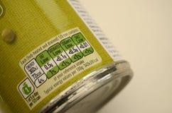 Etiqueta cifrada de la nutrición del color de comida enlatada Fotos de archivo