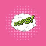 Etiqueta clássica do discurso do livro da banda desenhada OOPS! com bolha da nuvem e p Foto de Stock Royalty Free