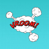 Etiqueta clássica do discurso do livro da banda desenhada VROOM! com bolha da nuvem Fotografia de Stock