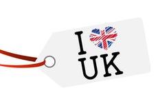 etiqueta colgante con el AMOR Reino Unido del texto I Imágenes de archivo libres de regalías