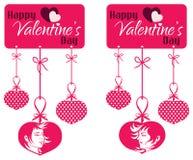 Etiqueta colgante de los pares de la tarjeta del día de San Valentín Fotografía de archivo