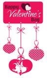 Etiqueta colgante que se besa de los pares de la tarjeta del día de San Valentín Fotografía de archivo
