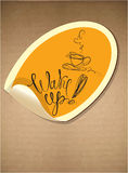 Etiqueta com ícone do copo de café e o calligra tirado mão Fotografia de Stock