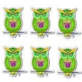 Etiqueta com as corujas brilhantes, coloridas ilustração do vetor