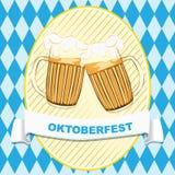 Etiqueta com canecas de cerveja Imagens de Stock Royalty Free