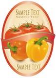 Etiqueta com dois pimentas e tomates. ilustração stock