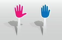 Etiqueta com duas mãos Imagem de Stock