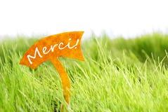 Etiqueta com francês Merci que os meios lhe agradecem na grama verde Imagem de Stock