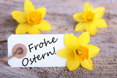 Etiqueta com Frohe Ostern Imagens de Stock Royalty Free