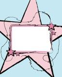 Etiqueta com a grande estrela cor-de-rosa Foto de Stock Royalty Free