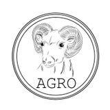 Etiqueta com a imagem de um carneiro para a venda na agronomia, exploração agrícola Ele Imagens de Stock